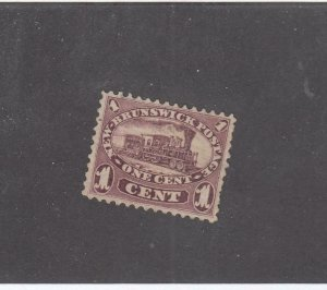 NEW BRUNSWICK # 6 VF-MNG 1cts 1860 LOCOMOTIVE /RED LILAC /CENTS ISSUE-#02 CV $60