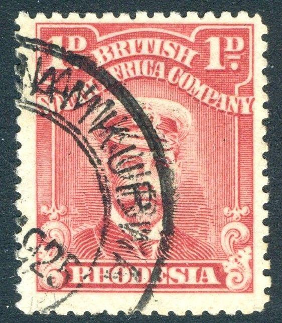 RHODESIA-1924 1d Aniline Red Sg 286 FINE USED V18592