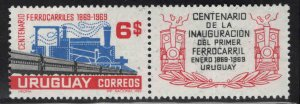 Uruguay Scott 771 MH* Train stamp with label