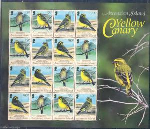 ASCENSION ISLAND YELLOW CANARY SERINUS FLAVIVENTRIS SHEETLET OF 16 STAMPS