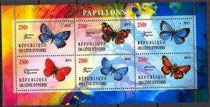 Ivory Coast 2013 Butterflies (3) MNH Cinderella !