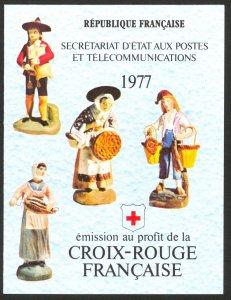 FRANCE 1977 RED CROSS Christmas Figurine Semi Postal Booklet Sc B503a MNH