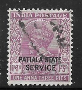 India Patiala O43: 1a3p George V, used, F-VF