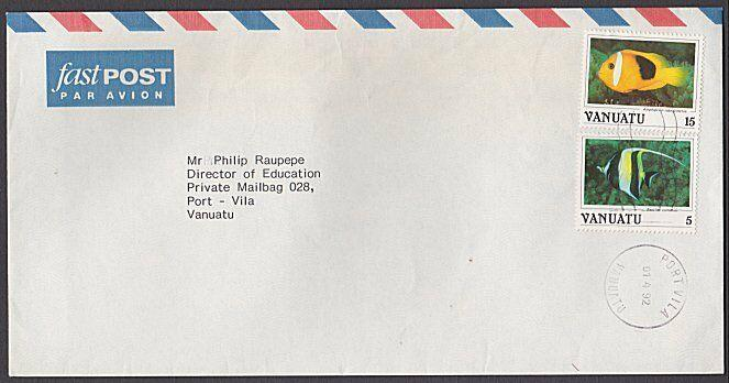 VANUATU 1992 5v & 15v fish on local cover - Port Vila machine cancel.......55029
