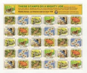USA National Wildlife Federation Spring Stamps 1984 Sheet of 30 MNH