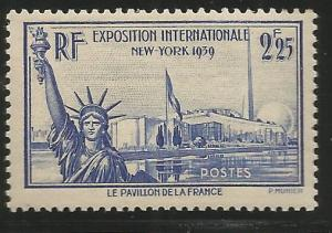FRANCE 372, LIGHTLY HINGED, STATUE OF LIBERTY, FRENCH PAVILION, TRYLON AND PE...