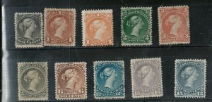 Canada #21 - #30 Mint Fine - Very Fine All With Part To Full Gum Hinged