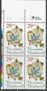 USA # 2839 Norman Rockwell  Plt.Blk4  11111-UL  (1) Mint NH