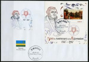 RWANDA 2017 50th ANN OF THE REFORMATION LUTHER AT THE DIET OF WORMS S/S FDC