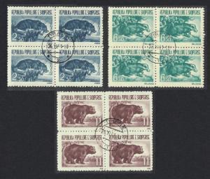 Albania Badger Bear Otter Fauna 3v Blocks of 4 Canc SG#673-675 MI#627-629