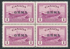 CANADA O10 MINT LH/NH, $1 FERRY BLOCK OF 4, 3 NH