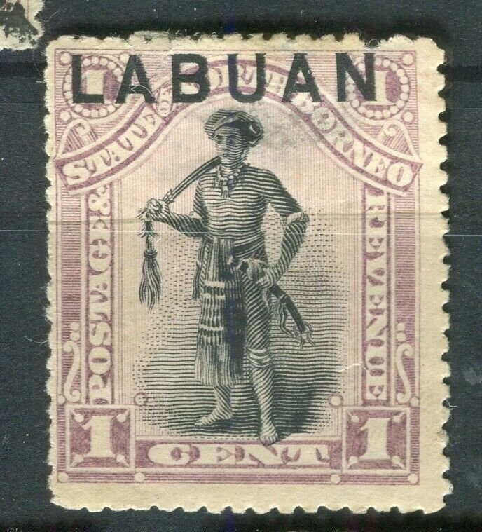 NORTH BORNEO LABUAN; 1890s classic Pictorial issue fine used 1c. value