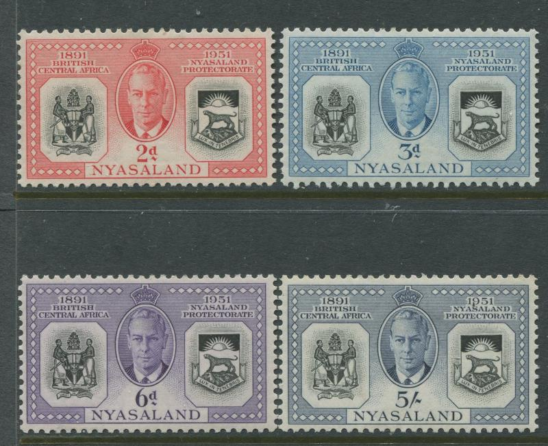 Nyasaland - Scott 91- 94 - General Issue. -1951 - MLH - Set of 4 Stamp