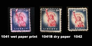 1041, 1041B, 1042 Statue of Liberty, 3 stamp comparison of printing techniques