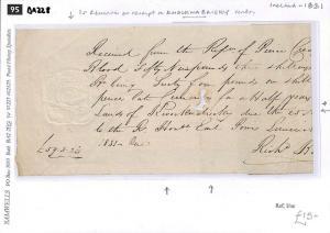 DA228 1831 GB IRELAND REVENUES Embossed 1s Receipt Reference 'Knocknabricky'