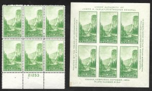 Doyle's_Stamps: 1934 1-cent National Parks PNB & Paired Souvenir Sheet