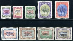 Greenland 19-27 Mint, LH, Overprints, horse, bird, plane, bear