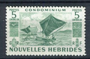 FRENCH; NEW HEBRIDES 1953 early pictorial issue fine Mint hinged 5c. value