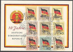 EAST GERMANY 1959 10th Anniv - 9 values on FDC ex Berlin....................F120