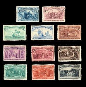 US STAMPS SCOTT #230-240 COLUMBIAN  EXPOSITION 1893 MH/OG CV: $1200