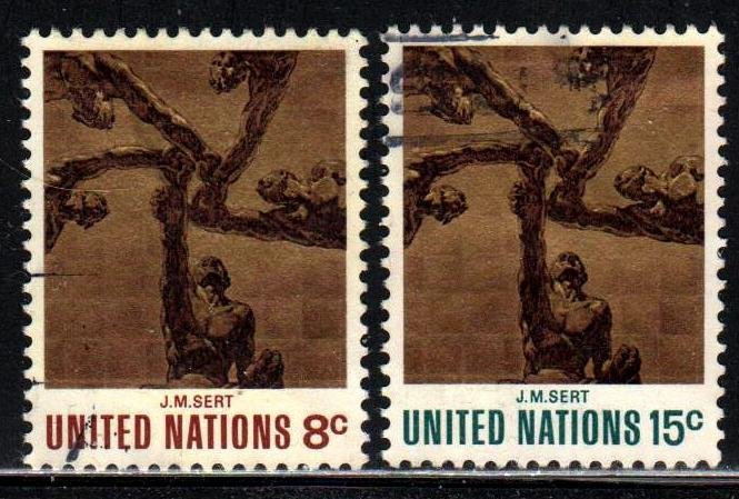 United Nations # 232-33 ~ Cplt Set 2  ~ Used  ~ cv .40