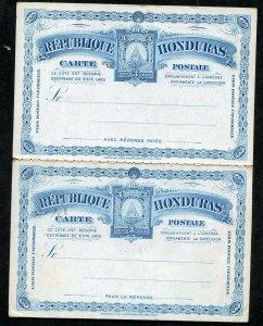 HONDURAS UPU 1890 HG 8 MINT 3+3C DOUBLE CARD BLUE ON WHITE AS SHOWN