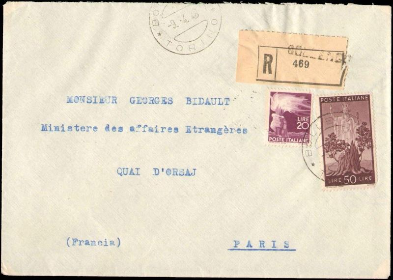 1948 ITALY REGISTERED MULTI STAMP ( 2 ) TO FRANCE
