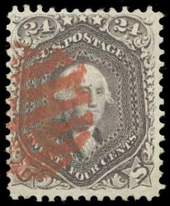 momen US Stamps #70 Used RED GRID VF PF Cert
