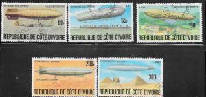 Ivory Coast #440-444   Zeppelins    (U) CV $3.40