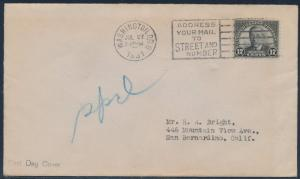 #697 17¢ WILSON ON FIRST DAY COVER JULY 27,1931 BS9145