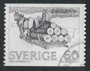 Sweden #747 60o Horse-drawn Timber Sled