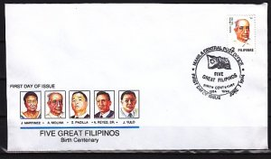 Philippines, Scott cat. 2307a. Musician, A. Molina value. First day cover. ^