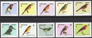 2005 Zimbabwe Scott 976-985 Birds MNH