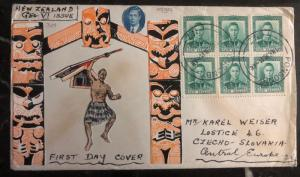 1938 Auckland New Zealand Hand Made First Day cover FDC to Czechoslovakia