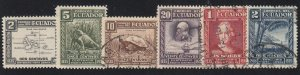 Ecuador - 1936 - SC 340-45 - Used/LH - Complete set - 340-1 LH - Darwin