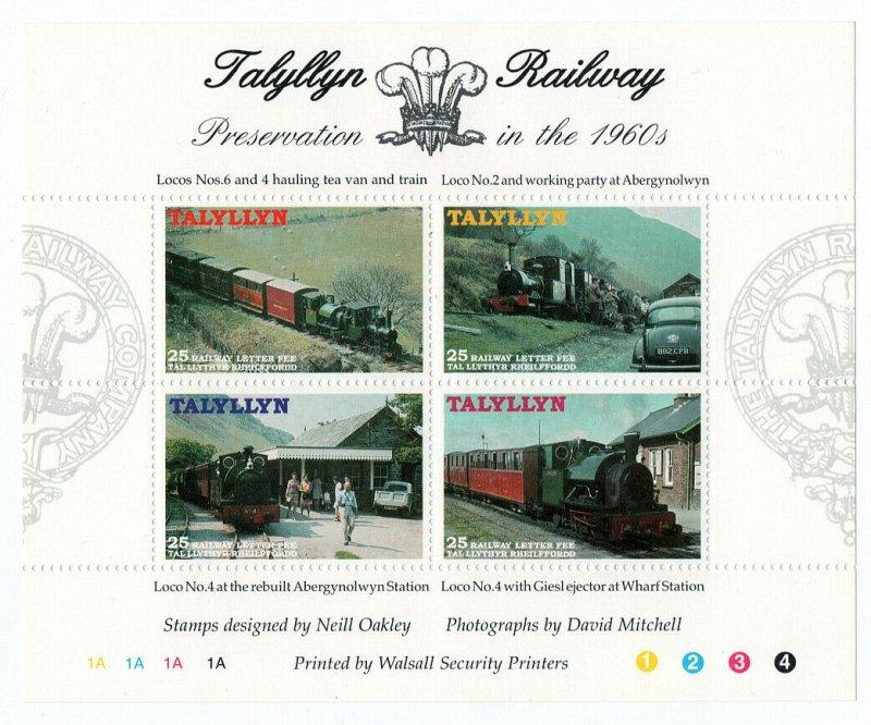 (I.B) Talyllyn Railway : Railway Letter Mini-Sheet (1960's)