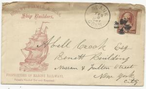 US ADV Cover Scott #210 Robet Palmer & Sons Ship Builders w/ Letter Feb 9, 1887