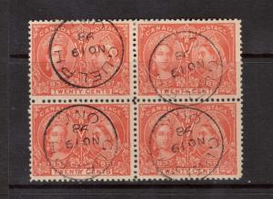 Canada #59 VF Used Block With Each Stamp Having CDS S.O.N. Guelph Nov 19 1898