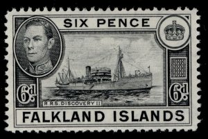 FALKLAND ISLANDS GVI SG156, 6d black, LH MINT.
