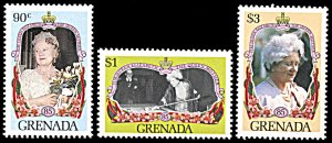 Grenada 1301 A-1301C, MNH, 85th Birthday of Queen Mother Elizabeth
