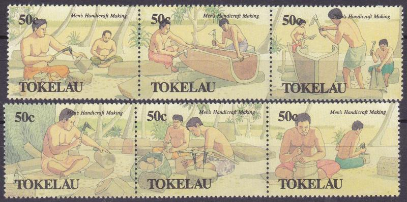 TOKELAU 1990 Mens Handicrafts strips MNG set