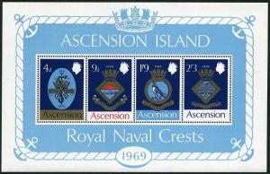 Ascension 129a,MNH.Michel Bl.1. Naval Arms 1969.Snake,Fish,Eagle.