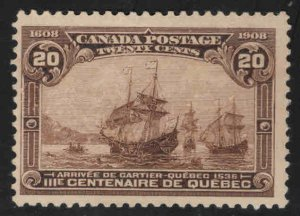 Canada Scott 103 MH* Arrival of Cartier ships at Quebec 1908 top value