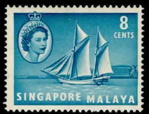 SINGAPORE SG43, 8c turquoise-blue, LH MINT.