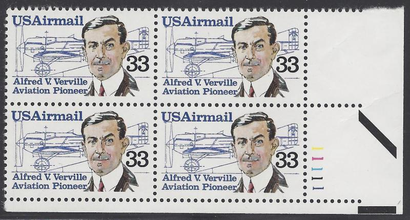 C113 Plate block 33cent Alfred V Verville Aviation Pioneer Air mail