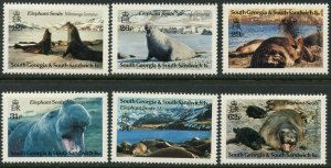 SOUTH GEORGIA Sc#151-156 1991 Elephant Seals Complete Set OG Mint NH