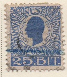 Danish West Indies Sc 34 1905 25 bit ultramarine Christian IX stamp used