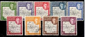 FALKLAND IS.DEP. SGG9/16 1948-9 THIN MAPS SET USED