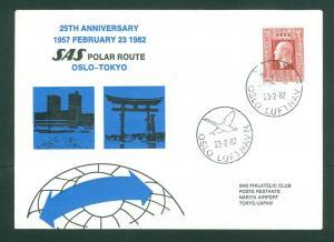 Norway. Japan Flight Cover 1982. SAS 1957-1982. Polar Route. Oslo- Tokyo.