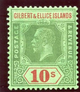 Gilbert & Ellice Is 1924 KGV 10s green & red/emerald MLH. SG 35. Sc 31.